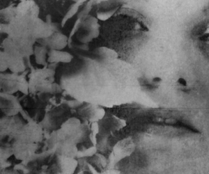 black and white, face, and flowers image