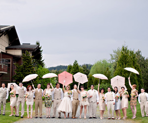 bride, bridesmaids, and umbrella image