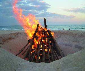 beach, bonfire, and night image