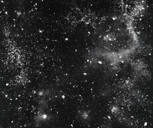 stars, black and white, and galaxy image