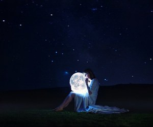 moon, girl, and night image