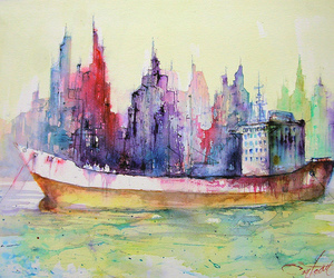 art, watercolor, and christian couteau image