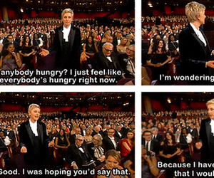 ellen degeneres, lol, and pizza image