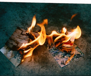 fire, burning, and Paper image