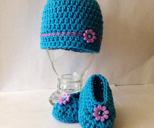 baby girl, slippers, and hat image