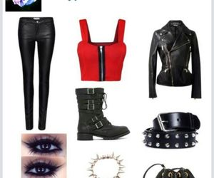 black, leather, and red image