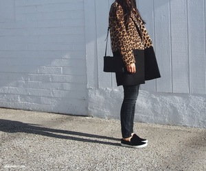 black, leopard, and manteau image
