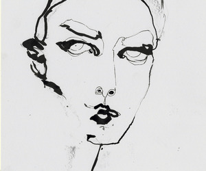 black and white, draw, and girl image