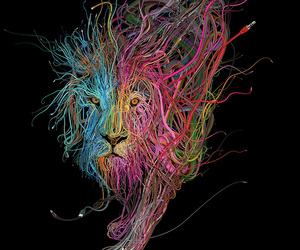 lion, art, and colorful image