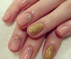 gold, nails, and glitter image