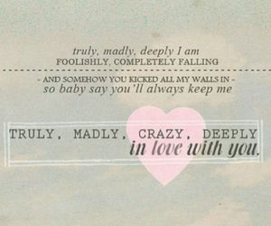 in love, Lyrics, and truly madly deeply image