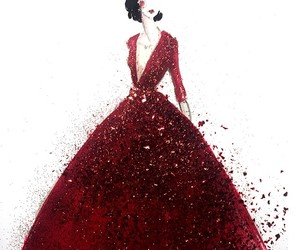 art, dress, and red image