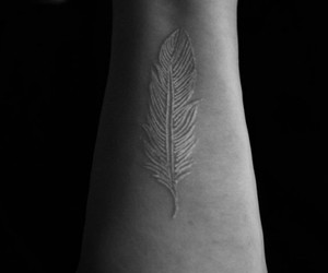 tattoo, feather, and white image