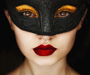 mask, red lips, and black image