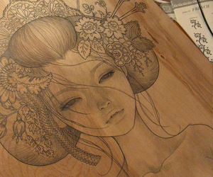 art, drawing, and geisha image