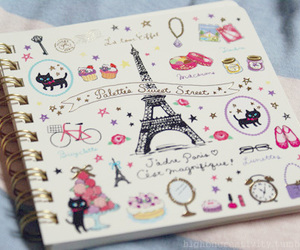 paris, notebook, and drawing image