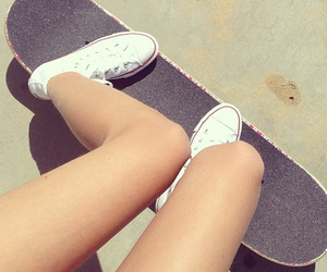 skateboard, converse, and summer image