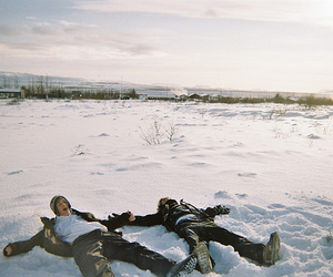 boy, snow, and friends image