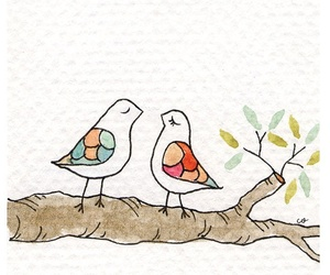 background, birds, and drawing image
