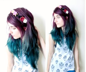 alternative, flower crown, and blue hair image