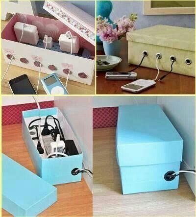 Diy Shoe Box Charging Cord Organizer Usefuldiy Com