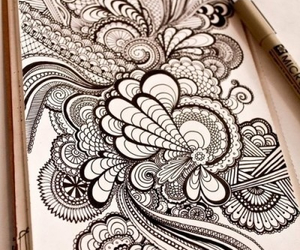 black and white, illustration, and zentangle image