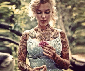 beauty, Marilyn Monroe, and Tattoos image