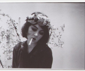 cigarette, flowers, and girl image