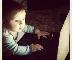 baby, computer, and internet image