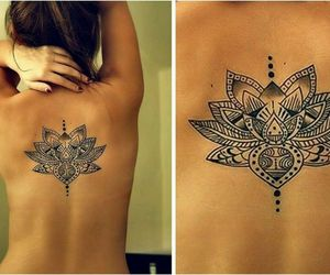 tattoo, back, and lotus image