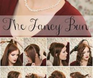 brunnette, make up, and bun image