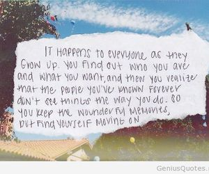 quote, memories, and moving on image