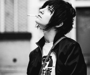 black and white, cigarette, and boy image