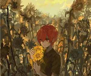 anime, flowers, and sunflower image