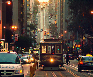 cable car, city, and lights image