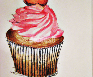 art, cupcake, and illustration image