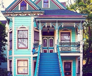 house, blue, and home image