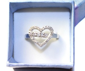 ring, diamond heart, and heart promise ring image