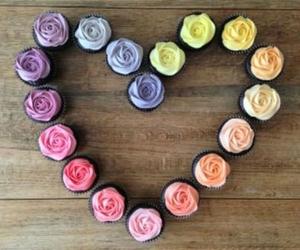 cupcake, heart, and rose image
