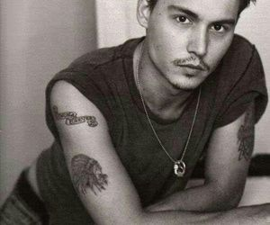 black and white, johnny depp, and young johnny depp image