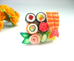 clay, ring, and sushi image