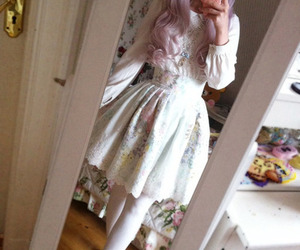 white dress, pastel hair, and flowerly image