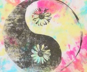 flowers, yin yang, and peace image