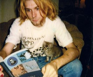 kurt cobain, nirvana, and cat image