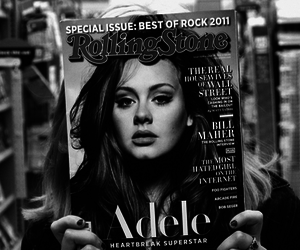 Adele, rolling stone, and black and white image