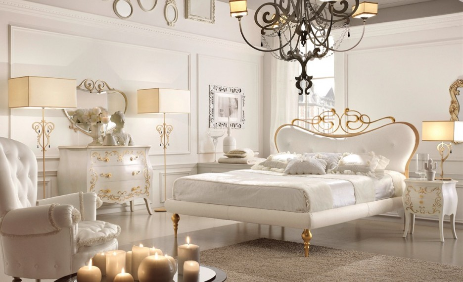 Lavish Bedroom Interior In White Color Decor From Home Designer Com White Modern Bedding Design With Classic Metal Chandelier Ideas