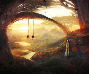sunset, love, and swing image