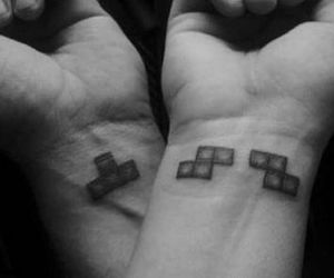 tattoo, tetris, and couple image
