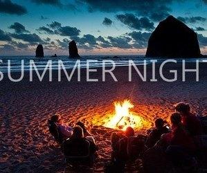 summer, night, and beach image