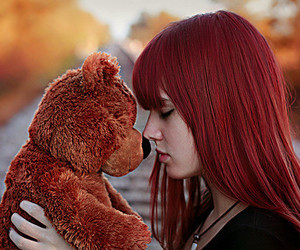 girl, bear, and red image